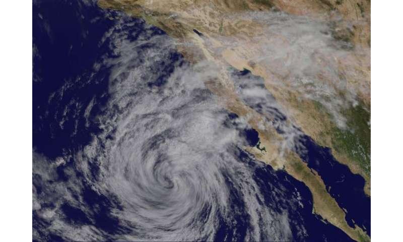 Satellite sees Tropical Storm Linda weakening near Baja California