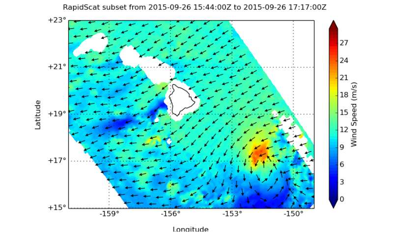 NASA's RapidScat spots Tropical Storm Niala's waning winds