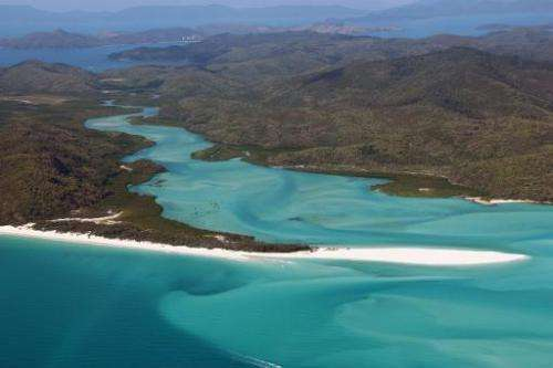 An aerial view of the Great Barrier Reef off the coast of the Whitsunday Islands, along the central coast of Queensland, Austral