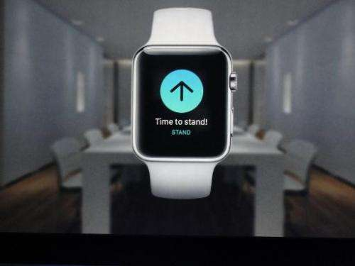 A screen shot of the new Apple Watch after Apple chief executive Tim Cook unveiled it during a media event March 9, 2015, in San