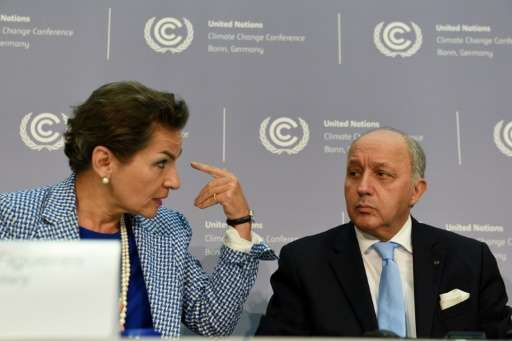 Christiana Figueres (L), Executive Secretary of the UN Framework Convention on Climate Change, and French Foreign Minister Laure