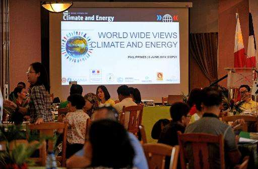 "Participants attend a climate debate forum titled ""World Wide Views on Climate and Energy"" in Manila on June 6, 2015"