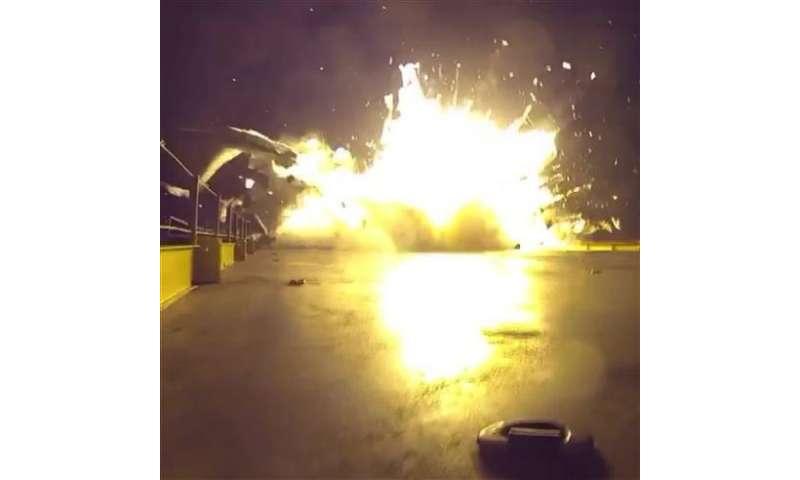 SpaceX releases video of rocket crash-landing on ocean barge