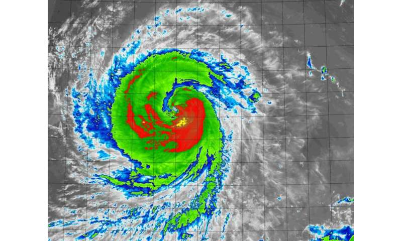 Suomi NPP satellite sees Typhoon Goni's strongest sides