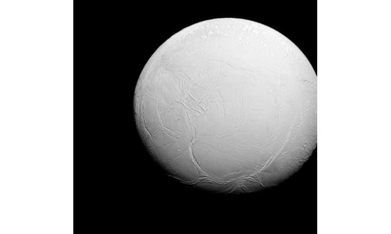 This NASA image obtained October 27, 2015 shows Enceladus