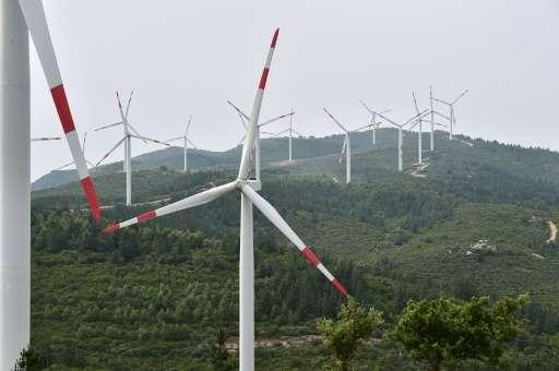 Wind turbines in a wind farm near Oristano in Sardinia