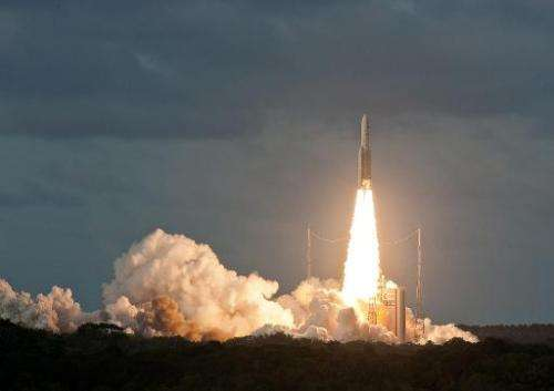 A handout photo taken and released on December 6, 2014 shows the Ariane 5 rocket being launched in Kourou, French Guiana