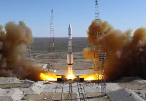 A Russian-built Proton rocket blasts off from a launch pad in the leased Kazakhstan's Baikonur cosmodrome on April 28, 2014