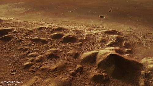 Mars hills hide icy past