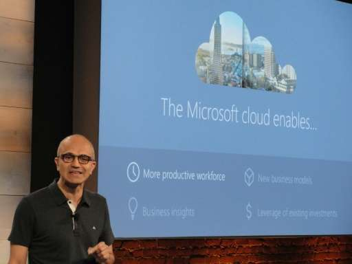 Microsoft chief executive Satya Nadella discusses Microsoft's platform for businesses to tap into the computing platform in the