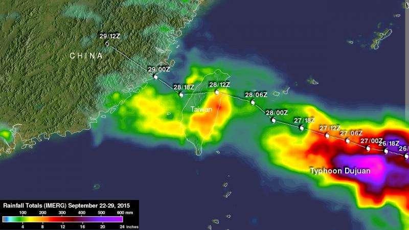 NASA's GPM analyzes Typhoon Dujuan's large rainfall totals