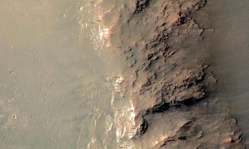Rock spire in 'Spirit of St. Louis Crater' on Mars