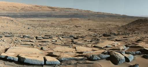 "This NASA image obtained October 9, 2015 shows a view from the ""Kimberley"" formation on Mars taken by NASA's Curiosity"