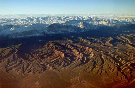 Aerial view of mountains in the southern part of Tajikistan, close to the Afghan border, taken January 28, 2002 during a mission