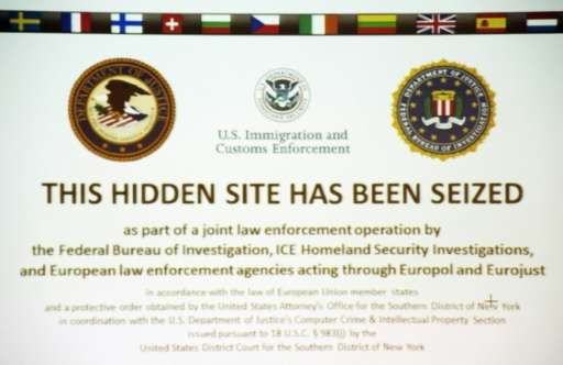 """""""This hidden site has been seized"""" is shown on the screenshot of the illegal internet retail platform """"SilkRoad"""