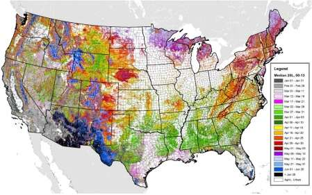Researchers map seasonal greening in US forests, fields, and urban areas