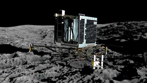 An artist's impression of Rosetta's lander Philae on the surface of comet 67P/Churyumov-Gerasimenko
