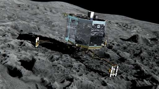 An artist's impression of Philae on the surface of comet 67P/Churyumov-Gerasimenko, released by the European Space Agency