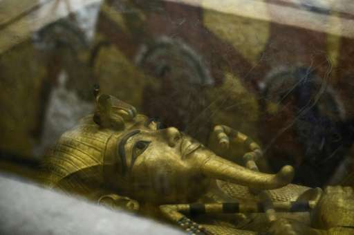 A picture taken on September 28, 2015 shows the golden sarcophagus of King Tutankhamun in his burial chamber in the Valley of th