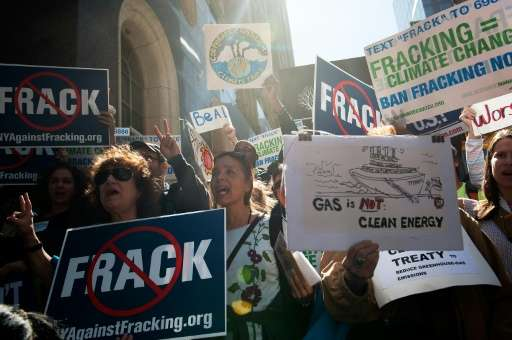 File picture shows anti-fracking demonstrators in New York as world leaders gathered for a UN General Assembly