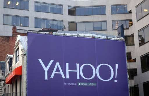 A billboard for tech firm Yahoo, photographed August 5, 2015; the company has received a subpoena in a New York state investigat