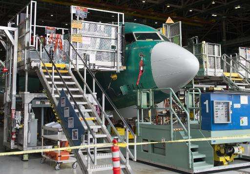 A Boeing 737 under construction at Boeing's factory in Renton, Washington, on May 19, 2015