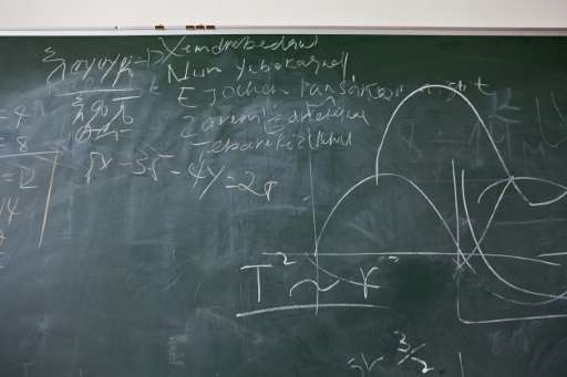 A chalkboard with mathematic equations as well as writing in Amharic, the Ethiopian national language, is seen inside the Entoto