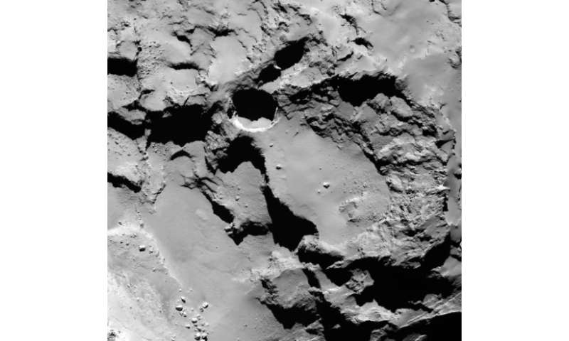 A close-up image of the most active pit, known as Seth 01, observed on the surface of the comet 67P/Churyumov-Gerasimenko by the