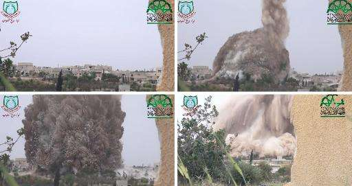 A combo image grab taken from a video uploaded on YouTube by Syria's biggest rebel alliance, the Islamic Front, on May 6, 2014,