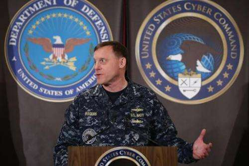 Admiral Michael Rogers, commander of the US Cyber Command and director of the National Security Agency delivers remarks on March