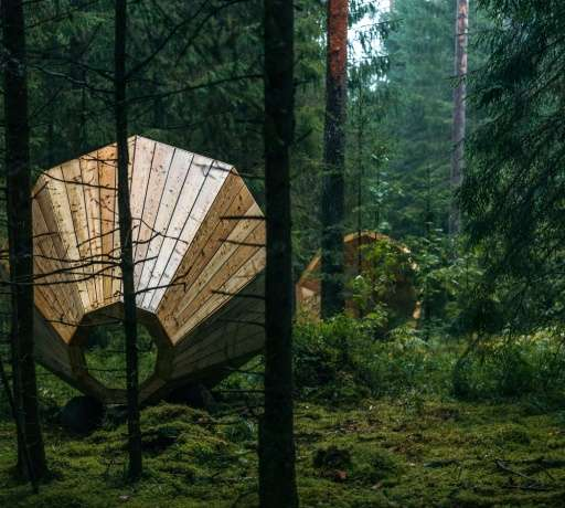 A group of design students in Estonia have strategically placed three massive loudspeakers in the heart of a remote woodland in