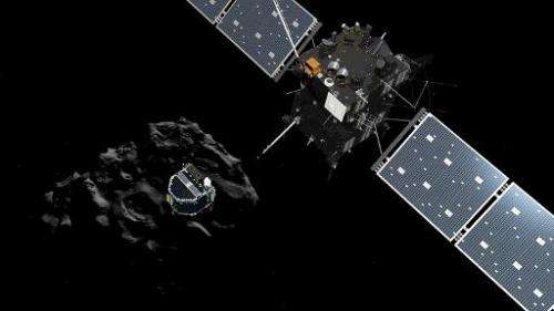 A handout released by the ESA/ATG medialab on November 12, 2014 shows an artists impression of the European probe Philae separat