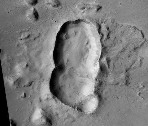Amazing impact crater where a triple asteroid smashed into Mars