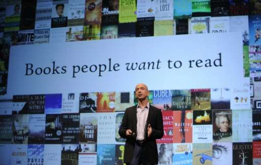 Amazon CEO Jeff Bezos speaks in New York, May 6, 2009