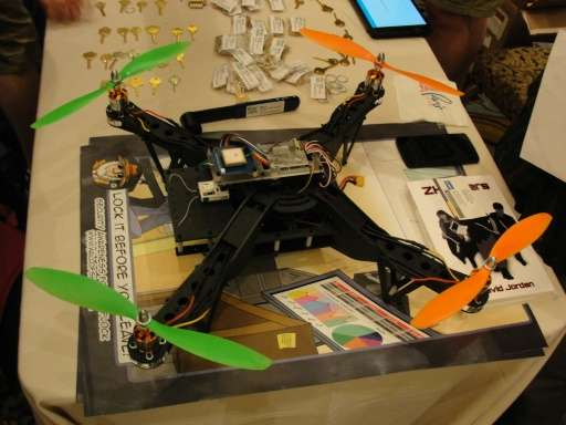 An Aerial Assault drone is displayed during a Def Con hacker gathering in Las Vegas, Nevada, on August 9, 2015