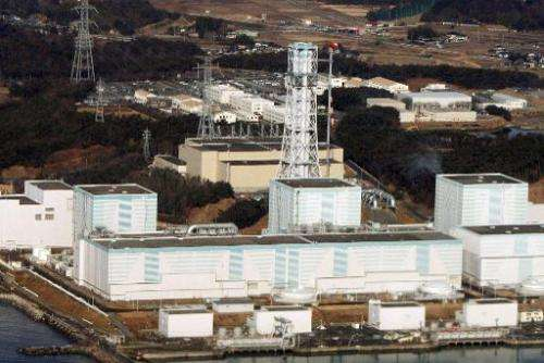 An aerial photo shows the quake-damaged Fukushima Dai-Ni nuclear power plant in the town of Naraha and Tomioka in the Futaba dis