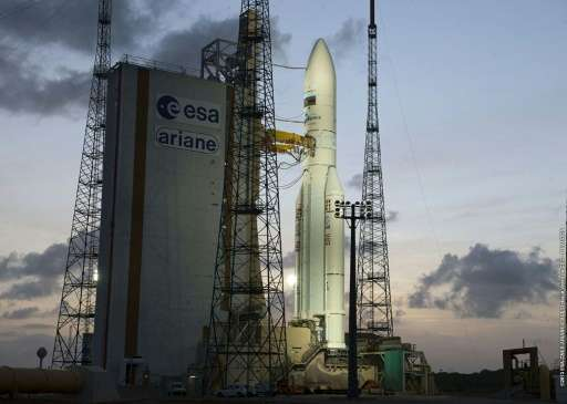 An Ariane 5 rocket carrying two satellites, Amazonas 3 and Azerspace/Africasat-1a, is on the launch pad on February 6, 2013 at t