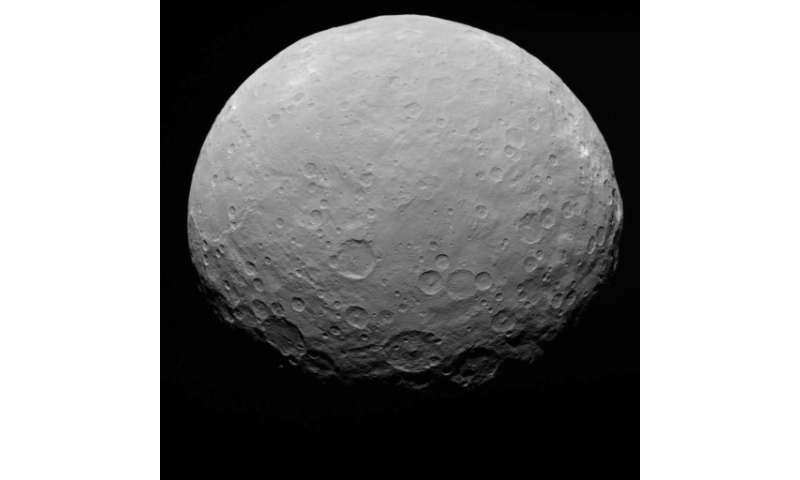 A NASA image of dwarf planet Ceres, which circles the sun between Mars and Jupiter