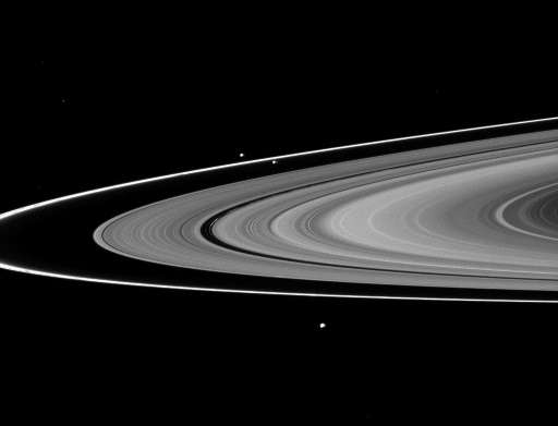 A NASA photo released on September 9, 2010 shows Saturn's F ring and its two sheperd satellites with Saturn's other main rings,