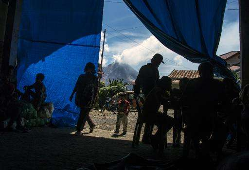 An evacuation shelter set up following Mount Sinabung volcano eruptions in Surbakti village, in Karo district, North Sumatra pro