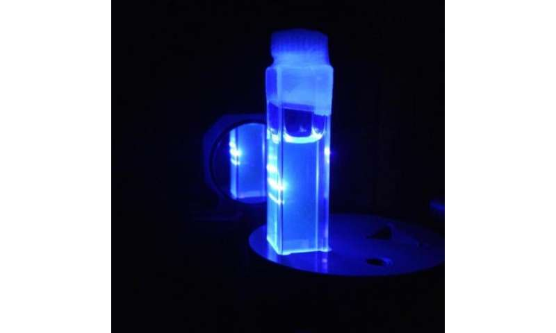 A novel inorganic material emitting laser light in solution is discovered