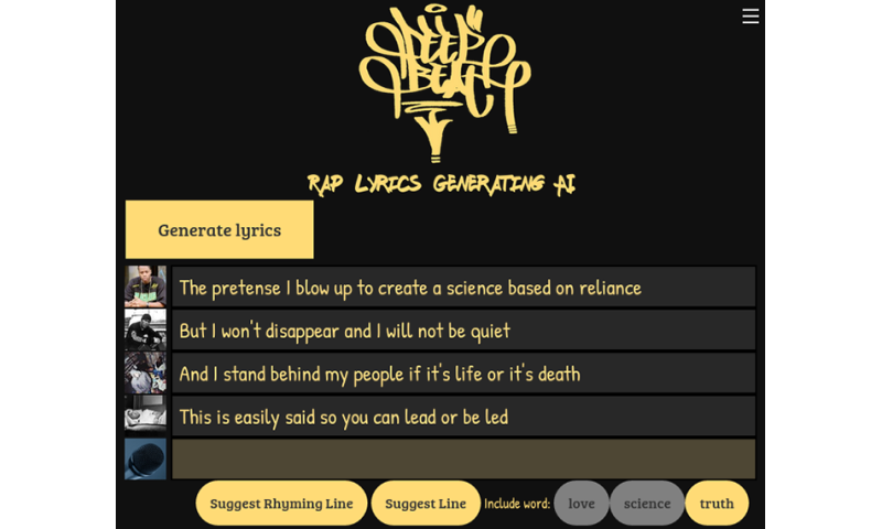 A rap generator is now available to the public on the Internet
