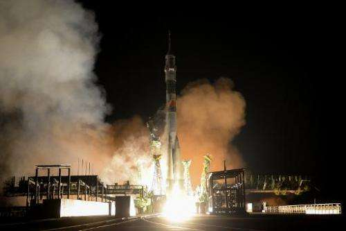 A Russian Soyuz TMA-15M spacecraft lifts off from the Baikonur cosmodrome early on November 24, 2014, carrying a crew for the In
