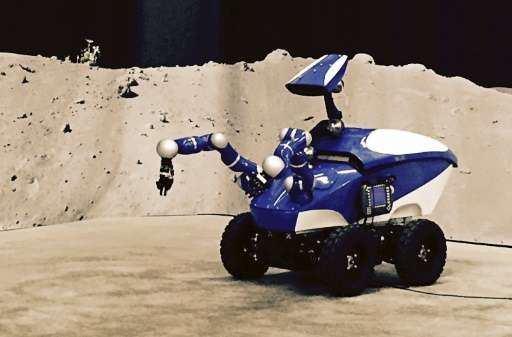 A screen shot taken on September 7, 2015 shows the Interact Centaur rover at the ESA headquarters in the Dutch town of Noordwijk