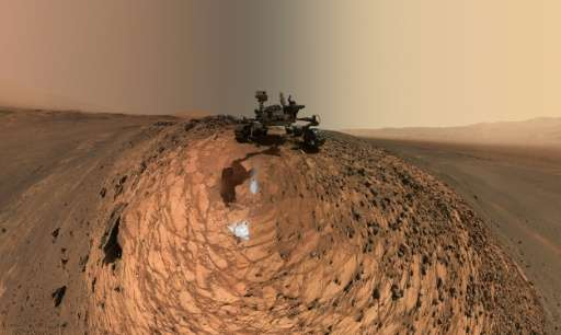 """A self-portrait of NASA's Curiosity Mars rover revealing the vehicle above the """"Buckskin"""" rock target, where the missi"""