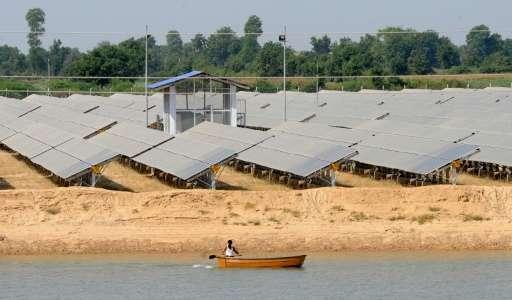 A solar farm in the village of Gunthawada, Banaskantha district on October 14, 2011