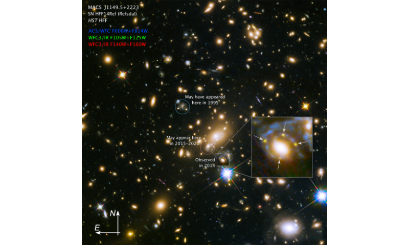Astronomers observe 4 images of the same supernova using a cosmic lens