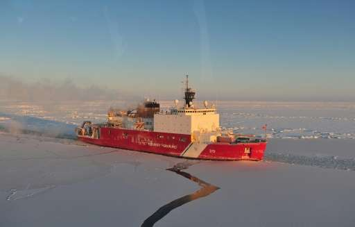 A US Coast Guard photo obtained January 14, 2012 shows the US Coast Guard Cutter Healy as it breaks ice in the Nome Harbor