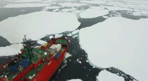 Australian Antarctic Division ice-breaker, the Aurora Australis, as seen from from a quadcopter drone on December 23, 2015