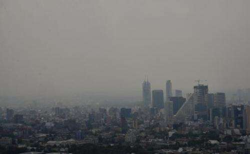 A view of smog covering the Mexico City skyline on March 30, 2014